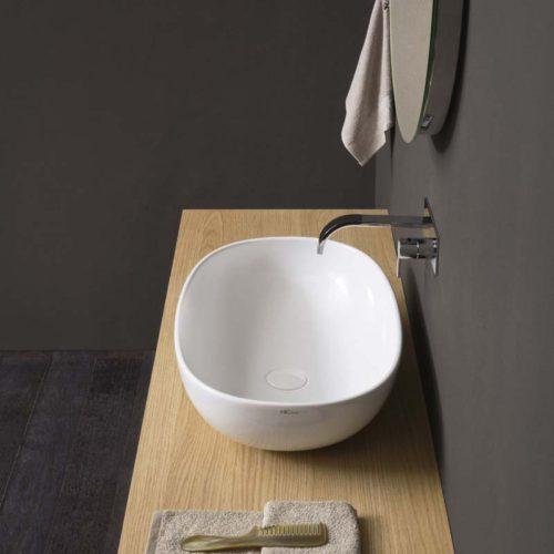 lavabo da appoggio in ceramica linea milk