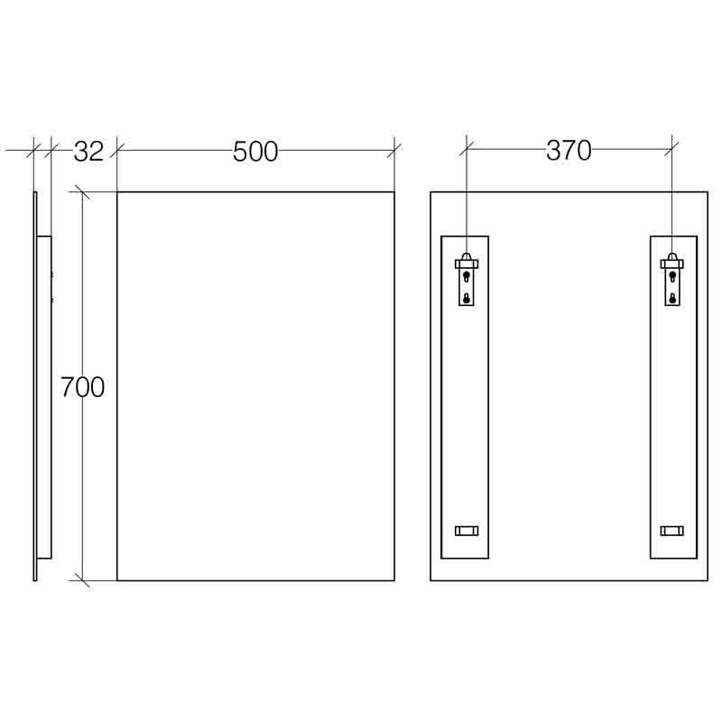 specchio verticale con struttura inox