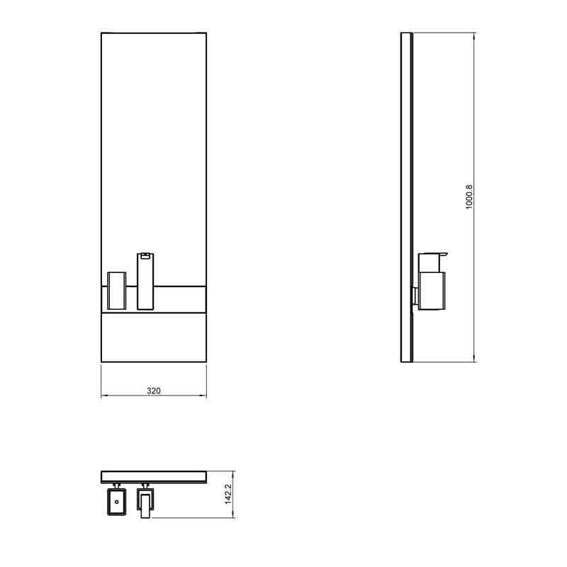 specchio con porta spazzolini