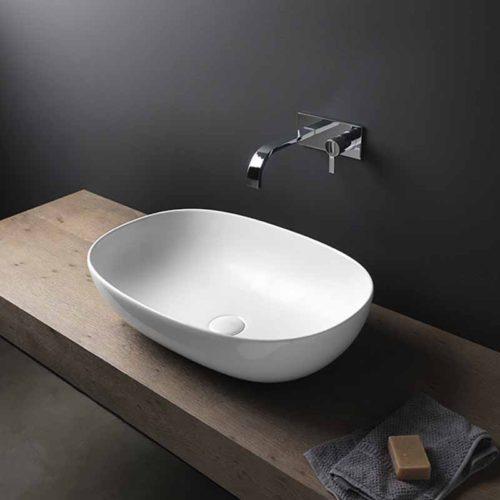 lavabo da appoggio in ceramica linea milk extreme